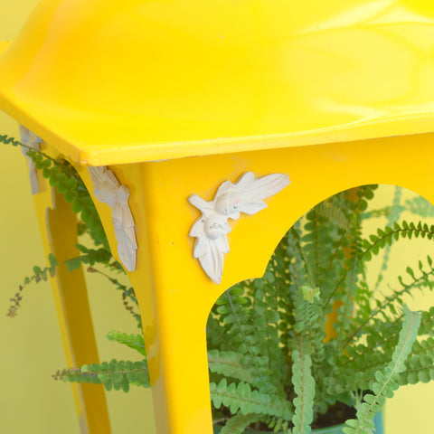 Vintage Large Fibreglass Lantern - Lamp/ Planter / Bird Feeder - Yellow & White