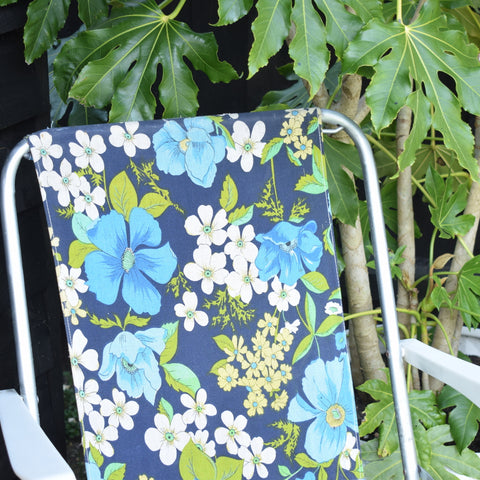 Vintage 1960s Folding Garden Chair - Flower Power - Blue & Green