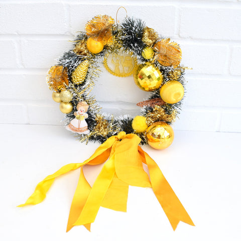 Kitsch Christmas Wreath Made With Vintage Decorations - Yellow / Gold