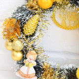 Kitsch Christmas Wreath Made With Vintage Decorations - Yellow / Gold detail angel