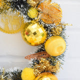 Kitsch Christmas Wreath Made With Vintage Decorations - Yellow / Gold detail