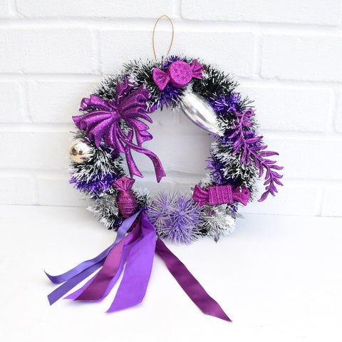 Kitsch Christmas Wreath Made With Vintage Decorations - Purple