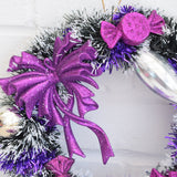 Kitsch Christmas Wreath Made With Vintage Decorations - Purple bow