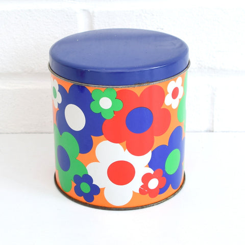 Vintage 1960s Flower Power Metal Tin - Orange , Green & Blue