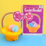 Vintage 1980s Honeycomb Easter Paper Decoration - Basket & Eggs