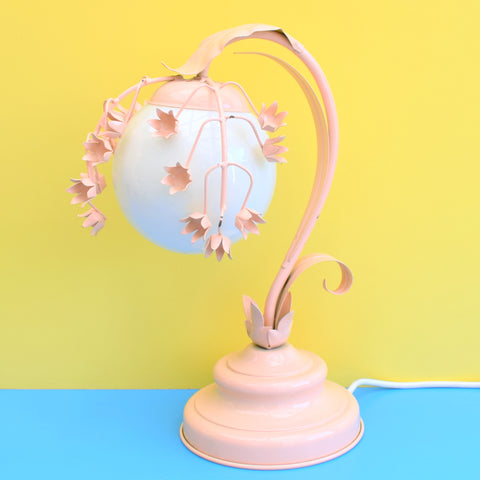 Vintage 1980s Metal / Glass Flower Table Lamp - Pink
