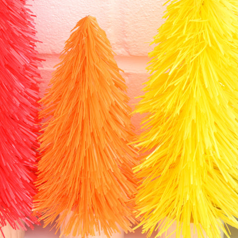 new retro brush kitsch christmas tree decoration red orange yellow green - Orange Coloured Christmas Tree Decorations