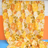 Vintage 1960s Barkcloth Curtains Flower Power,  Yellow