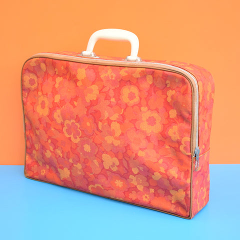 Vintage 1960s PVC Suitcase, Flower Power - Orange & Red