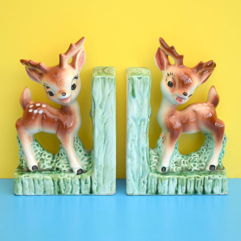 Vintage Ceramic Bambi Fawn Deer Bookends - Brown & Green