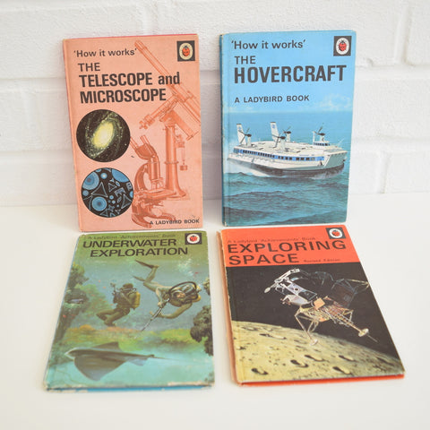 Vintage Ladybird Books - Telescope , Hovercraft, underwater , Space