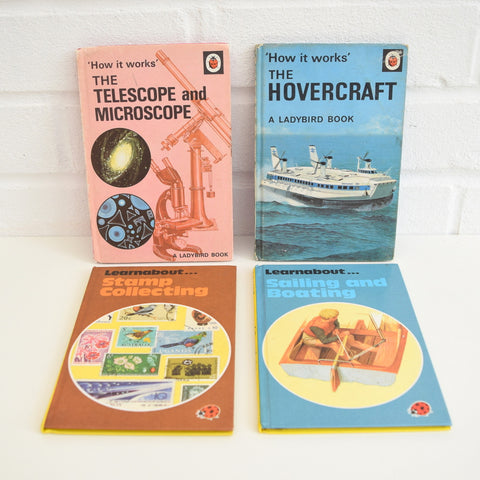 Vintage Ladybird Books - Telescope , Hovercraft , Stamps, Sailing