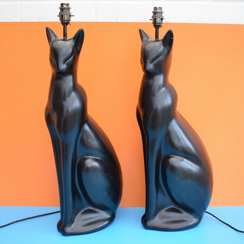 Outstanding Vintage 1950S Very Large Black Cat Lamp Inspired By The Chassagne Wiring Database Numdin4X4Andersnl