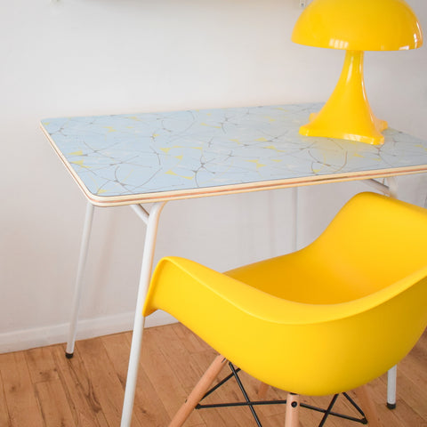 Vintage 1950s Formica Table - Fantastic Printed Formica - Ideal Desk, Yellow / Powder Blue