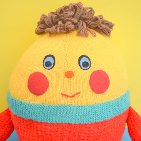 Vintage 1970s Knitted Humpty Dumpty - Handmade - Yellow & Red