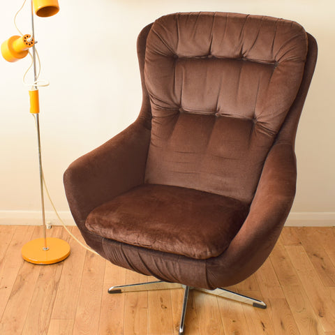 Vintage 1960s Brown Velvet / Velour & Chrome Easy Chair