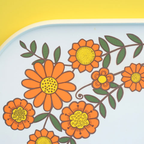 Vintage 1970s Flower Power Tray - Orange Daisies