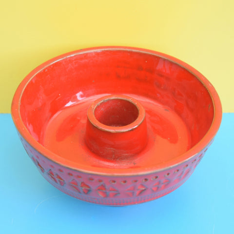Vintage 1960s Bitossi Italian Ceramic Candle holder - Red