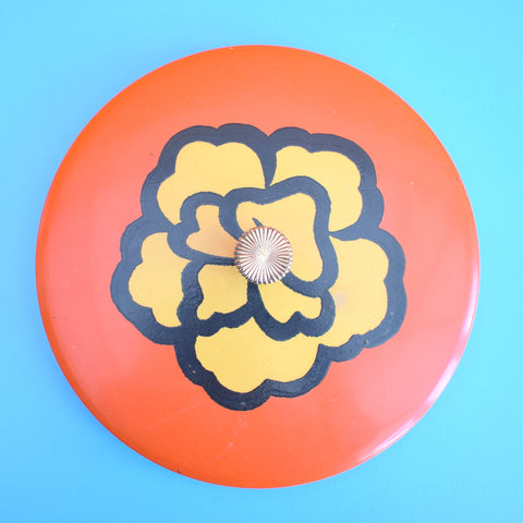 Vintage 1970s Round Lacquered Nesting Pots, Flower Power - Orange & Yellow