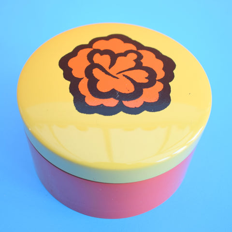 Vintage 1970s Round Lacquered Coasters x6, Flower Power Box - Orange & Yellow