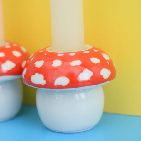 Vintage 1970s Ceramic Toadstool Candle Holders - Swedish