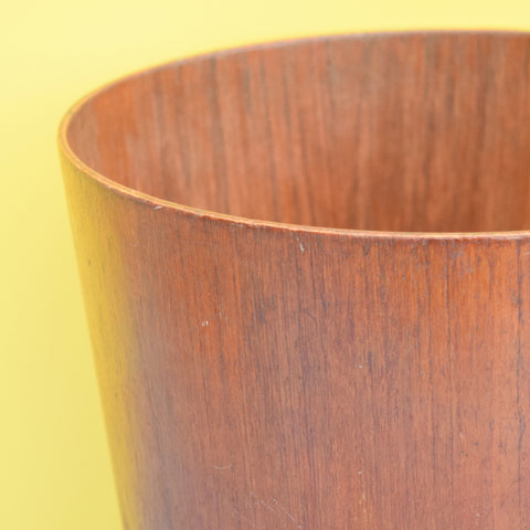 Vintage 1950s Bent Teak Plywood Bin / Planter - Swedish