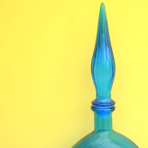 Vintage 1960s Italian Glass Genie Bottle - Peacock Blue .