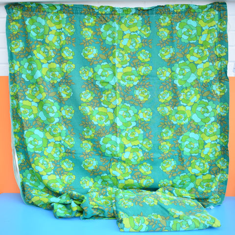 Vintage 1960s Quality Cotton Curtains Flower Power,  Green
