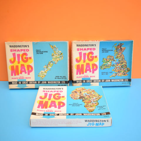 Vintage 1970s Waddingtons Jig-Map - Jigsaw Puzzles - New Zealand, British Isles, Africa