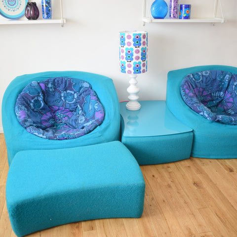 Vintage 1960s Modular Lounge Set - Turquoise & Flower Power
