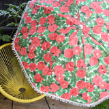 Vintage 1970s - Garden Parasol / Umbrella - Pink Flower Power