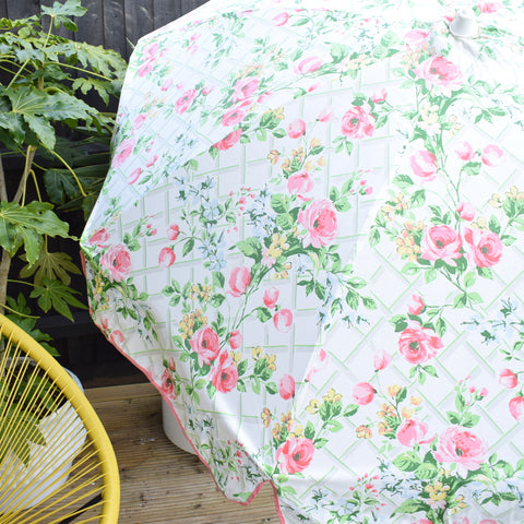 Vintage 1980s - Garden Parasol / Umbrella - Pretty Pink Flowers