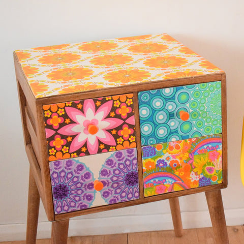 Vintage 1960s Wooden Drawer Unit - Multiple Vintage Wallpapers - Patchwork