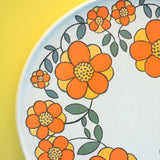 Vintage 1960s Melamine Round Tray - Flower Power Design - Orange