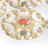 Vintage Kitsch 1960s Metal Rose Design Handles New Old Stock - Gold Red Rose x6