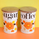 Vintage 1960s Crown Devon Ceramic Jars- Flower Power - Coffee / Sugar / Biscuits / Shakers.