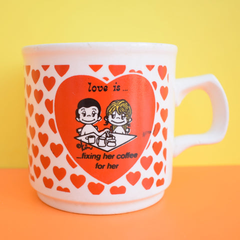 Vintage 1970s Mug, Love Is... Fixing Her Coffee For Her (Kim) - Red Hearts