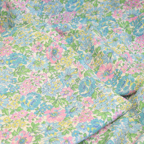 Vintage 1950s Pretty Curtains - Rayon Mix - Pink & Blue Chinz