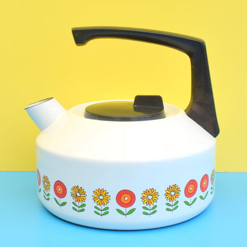 Vintage 1970s Enamel Stove Kettle - Flower Power Design - Damaged