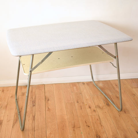Vintage 1960s Folding Patterned Formica Table - Grey