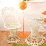 Vintage Fibreglass Strand Chairs & Bistro Table - Russell Woodard - White