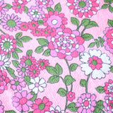 Vintage 1960s Towelling Fabric - Pink Flower Power Or Monochrome