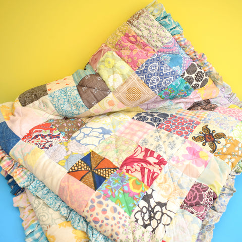 Vintage 1960s Fabric Patchwork Narrow Quilt / Eiderdown