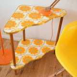 Vintage 1960s Tiered Side Table - Flower Power - Orange Vinyl