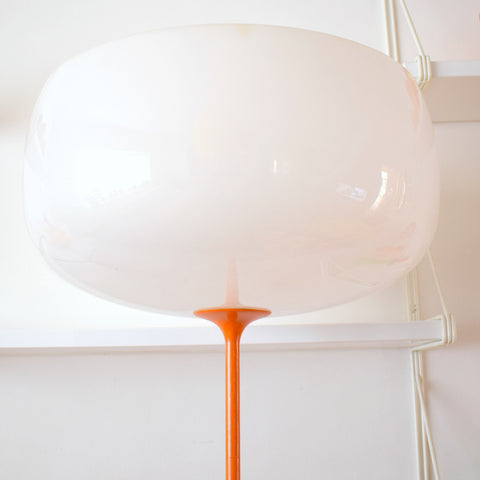 Vintage Tall 1970s Plastic / Metal Uplighter Lamp - White & Orange