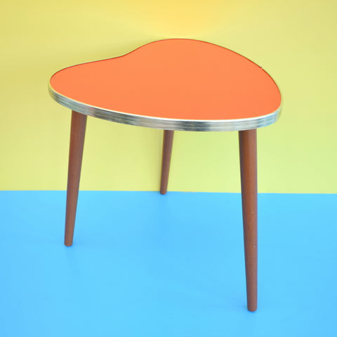 Vintage 1960s Heart Shaped Side Table - Wood Legs and Blood Orange Top