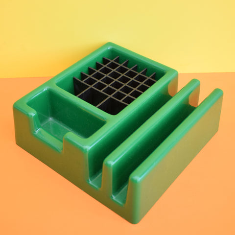 Vintage 1970s Plastic Desk Tidy / Organiser - Argo, Made In Sweden - Green