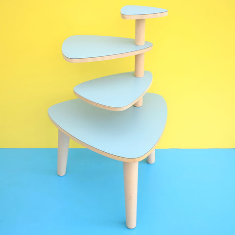 Vintage Formica Tiered Plant Stand / Table - Pale Blue Formica Tops
