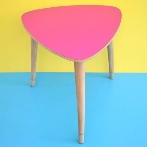 Vintage 1950s Formica Side Table - Wooden Legs - Magenta Pink