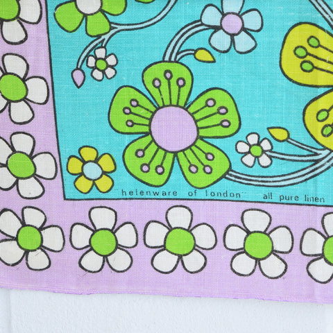 Vintage 1960s Flower Power Cotton Tea Towel - Jasmine - Julia Killingback - Purple detail